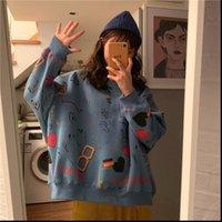 Doodle Printing Round Neck Harajuku Women Sweatshirts Loose Pullover Oversize Casual Streetwear Korean Style Rz