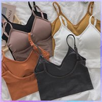 Women's Tanks & Camis Sexy Strap Crop Tops Women Backless Camisole Wireless Bralette Crochet Tank Top Female T-shirt Cropped With Chest Padd