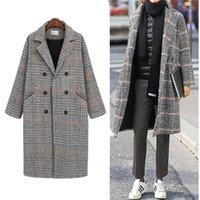 Women's Wool & Blends Autumn Winter Long Coat Women 2021 Casual Plus Size Plaid Double Breasted Blazers Jacket Female Elegant Overisze Outwe