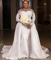2021 Plus Size Arabic Aso Ebi Luxurious Mermaid Sexy Wedding Gowns Sheer Neck Lace Beaded Long Sleeves Detachable Train Wedding Dresses ZJ216