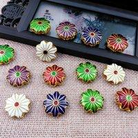 430pcs 18mm Cloisonne Enamel Daisy Lotus Beaded DIY Jewelry Making Charm Earrings Bracelet Necklace Pendant Accessories