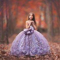 Vestido de bola de espagueti Vestidos de concurso de niña con encaje Floral apliques Flor niña vestido lindo hinchado tul vestido de baile niños ropa formal