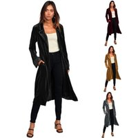 Women's Trench Coats Winter Style Gold Velvet Long Windbreaker Cardigan Jacket Solid Color Sleeves With Belt Urban Casual Coat