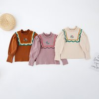 Girls Embroidery Ruffle Blouse Shirts Fall 2021 Kids Bouitique Clothes Original Design 1-5T Children Cotton Long Sleeves Tops