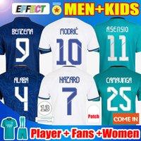 REAL MADRID 축구 유니폼 21 22 HAZARD 축구 셔츠 SERGIO RAMOS BENZEMA ASENSIO MODRIC MARCELO Camiseta 여성 남성 + 키즈 키트 팬 플레이어 버전 2021 2022 유니폼