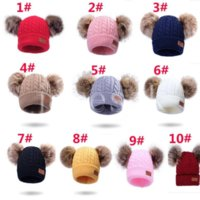 10 Styles New Winter Hats Boys Girls Knitted Beanies Thick Baby Cute Hair Ball Cap Infant Toddler Warm Caps Boy Girl Pom Poms Hat DB196