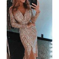 Casual Dresses Sexy V Neck Sequin Dress Evening Party Women Long Sleeve Split Wrap Clubwear