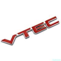 3D Rode Vtec Logo Metalen Auto Styling Embleem Tail Body Badge Zinklegering Sticker voor Honda Civic Accord Odyssey Spiorior Fit CRV SUV
