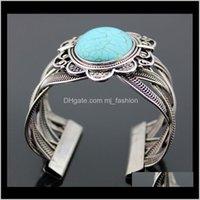 Braceletes Jóias Pedra Natural Turquesa Retro Bangle Pulseira Presente Para As Mulheres 1377 Gota Entrega 2021 P1WXG