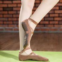 Sport calze in cotone Terry in silicone antiscivolo yoga balletto danza pilates trampolino traspirante morbido