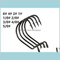 Black Nickel Stainless Steel Wide Gap Worm Hook Jig Fishing Crank Hook Soft Shad Barbed Fishhook 100Pc Lot Ji27R Kfxmz