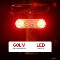 Luces de bicicleta Bing LED Luz de cola USB Recargable Ultra brillante Sensación de frenos Bicicleta 60lm Lámpara trasera Sense Sense Red