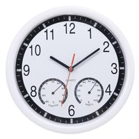 Wall Clocks Modern Humidity Display Clock Silent Home Kitchen White Meter 24.4x3.5cm (Without Battery)