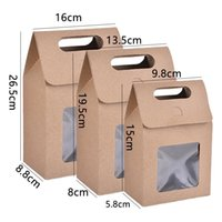 Gift Wrap Clear PVC Window Kraft Paper Candy Box Packing Bags Favors Boxes Kids Gifts Wedding Birthday Party Supplies