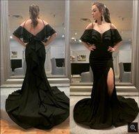 Vestido De Festa 2021 black satin mermaid prom dresses spaghetti straps v neckline ruffled court train long party dress open back sexy elegant evening gowns