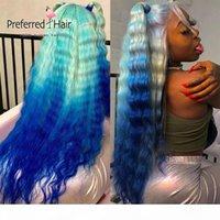 선호하는 ombre 블루 딥 웨이브 가발 미리 뽑아 녹색 보라색 레이스 프론트 인간의 머리 가발 레미 여성을위한 투명한 레이스 가발