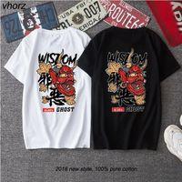 Vhorz Evil Ghost Baskılı Tops Tees Erkek 2018 Yeni Yaz Çin Karakter T Shirt Hip Hop Rahat Pamuk Kısa Kollu Tişörtleri