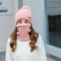Beanie Skull Caps 2 PCS Beanie Hat Scarf Set For Woman Girl Solid Color Twist Knitting Autumn Winter Pompoms Cap Cycling Ski Outdoor Sports