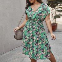 Summer Women Dress Floral Short Sleeve Big Size Sexy Beach Dresses Plus Sundress 4XL Ladies Knee Large Clothes Casual