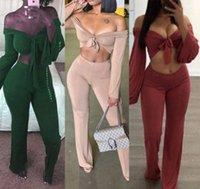 Женщины V-образным вырезом Clubwear Pajamas Set Одежда Осень Длинный рукав Урожай Топ Брюки Брюки 2 Шт. R6yh #
