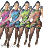 المرأة بذلة 2021 الصيف مصمم جولة الرقبة المرأة سليم قوس قزح طباعة نيسيس أكمام الصدرية السراويل القصير الأزياء عارضة الملابس