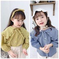 Shirts Spring 2021 Children Clothing Girl Korean Big Lapel Leisure Shirt Kids Long Sleeve Tops