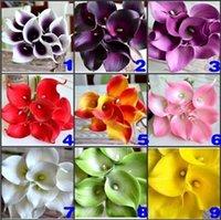 Цветок фиолетовый DES Искусственный темный Цветочный мини-декоративный каллы Лили Букет для свадебных украшений Поставка 9 цветов в наличии