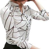 Spring Summer Women Chiffon Blouse Shirt 2021 Casual Long Sleeve Blusas Female Print Office Blouses Lady Tops Plus Size Women's & Shirts