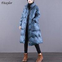 Женщины Parkas Fitaylor Зима Свободные Теплые Перо Куртка Женщины Качественные 90% Белое Утиное Пальто Винтаж Толстый Паркер Пушистый Снег