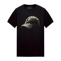 Summer Casual Mens T Shirt Tops Rhinestone Designer Short Sleeves T-shirts Black - Crew Neck Pullover Tees Women, Unisex
