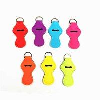 Boş Anahtar Mini Neopren Anahtarlık Katı Renk Chapstick Kapak Tutucu Anahtarlık Dudak Brüt Chartsticks Wrap Anahtarlık Kol Charms Hediyeler HN04