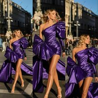 Purple 2021 Short Homecoming Dresses With Detachable Train Overskirt Long Sleeve One Shoulder Evening Gowns Bow Glitz Pageant Dresse For Girls Cocktail Gown