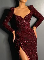 2021 New Red Evening Dresses Jewel Neck Beaded Sequined Blingbling Long Sleeve Mermaid Prom Dress Sweep Train Custom Illusion Robes De Soirée