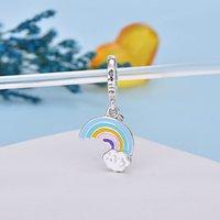 Qikaola 100% S925 STRINLING SLINIL RAINLOW BEAD BEAD AJUSTE Pulseras de diseño original para mujeres Accesorios de joyería C029