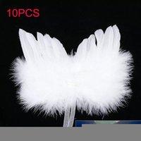 10pcs décroations de Noël Angel Feather Wings suspendu accencheurs de plumes de peluche blanche décor de fête ornement