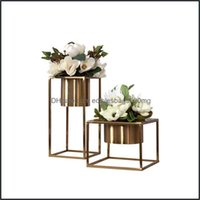 Décor & Gardenluxtry Home Decor Aessories Gold Metal Tabletop Plant Bonsai Flower Tray Wedding Art Vase Rack Dried Pots Vases Drop Delivery