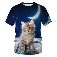 Mode 2020 T-shirt Männer Mond Katze 3D Druck Mode Männer und Frauen T-shirts Weiche Textur Casual Herren Kleidung