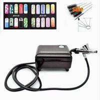 Valor Airbrush Set Kit Kit de pluma Pintura de pintura de pluma Pistola de pulverización para clavos con 5 * Cepillo de limpieza 1 * Compresor de aire 1 * Horse 2 * Stencil1