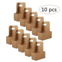 Presentförpackning 10PCSake-out Kraft Paper Cup Holder Clip Engång Kaffe Dryckbricka med handtag för 2 Party Supplies
