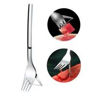 Novas ferramentas de legumes Multifuncionais 2 em 1 aço inoxidável Fruta Fruta Melancia Slicer Cutter Talheres Cozinha Gadgets EWB8005