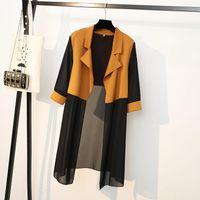 Plus Size Outerwear & Coats 2021 Summer Big 4XL Korean Women's Cardigan Loose Thin Female Stitching Black Casual Sunscreen Shirt Jacket Aq57