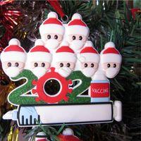 2021 Decorazioni natalizie Quarantine Ornamenti Party Regalo Regalo Survitivi Famiglia di 1-7 teste FAI DA TE Maschera dell'albero Siringa Pendente dei cartoni animati Artigianato con corda