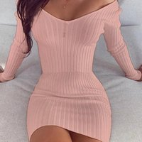 Casual Dresses Dress Women Autumn Knitted Skinny For Party Vintage High Waist Sexy Temperament Female Outfits