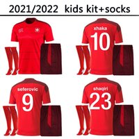 2021 2022 Suíça Soccer Kids Kids Kit and Socks Jersey National Team Home 20 21 22 Seferovic Freuler Shaqiri Lang Embolo Behrami Camisa de Futebol Vermelho Suíça