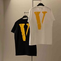 di V versione corretta Beijing Limited Yellow Big V Stampa Singolo Casual T-shirt manica corta V a manica corta Teey21e