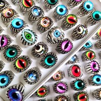 Wholesale Top Mix Eye Ring Unique Design Evil's Eyes Silver Tone Rings Vintage Men Women Punk Rocker Cool Bands Man Boy Jewelry Gift Favor