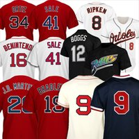 12 Wade Boggs Baseball Jerseys 16 Andrew Benintendi 9 Ted Williams 28 JD Martinez 15 Dustin Pedroia Jackie Bradley Cal Ripken Jr.