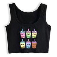Women's Tanks & Camis Crop Top Women Boba Tea Bubble Milk Harajuku Emo Aesthetic Grunge Tank Female Clothes