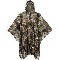 Conjuntos de caça 3D Camuflagem Suits Sniper Roupas Moro Camuflagem Camisa Ghillie Terno Folhas Poncho Manto Stealth Uniforme Militar