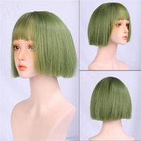 Synthetic Wigs Short Bob Wig With Neat Bangs Straight For Women Daily Party Fake Hair Heat Resistant Fibre